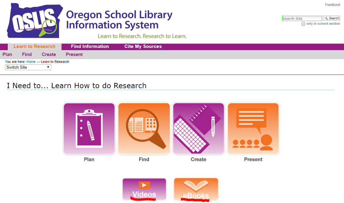 Screenshot of Elementary Learn to Research Landing Page