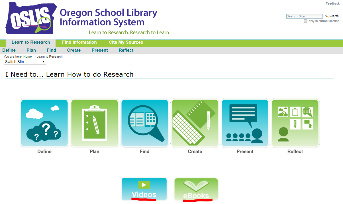 Screenshot of Secondary Learn to Research Landing Page