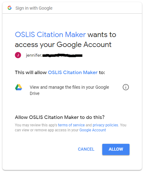 Screenshot of Google Access Message
